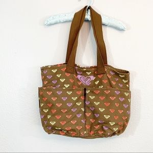 ROXY Brown Logo Canvas Beach Tote